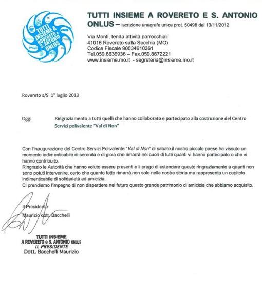 Centro Servizi Polivalente: lettera di ringraziamento del Presidente della Onlus